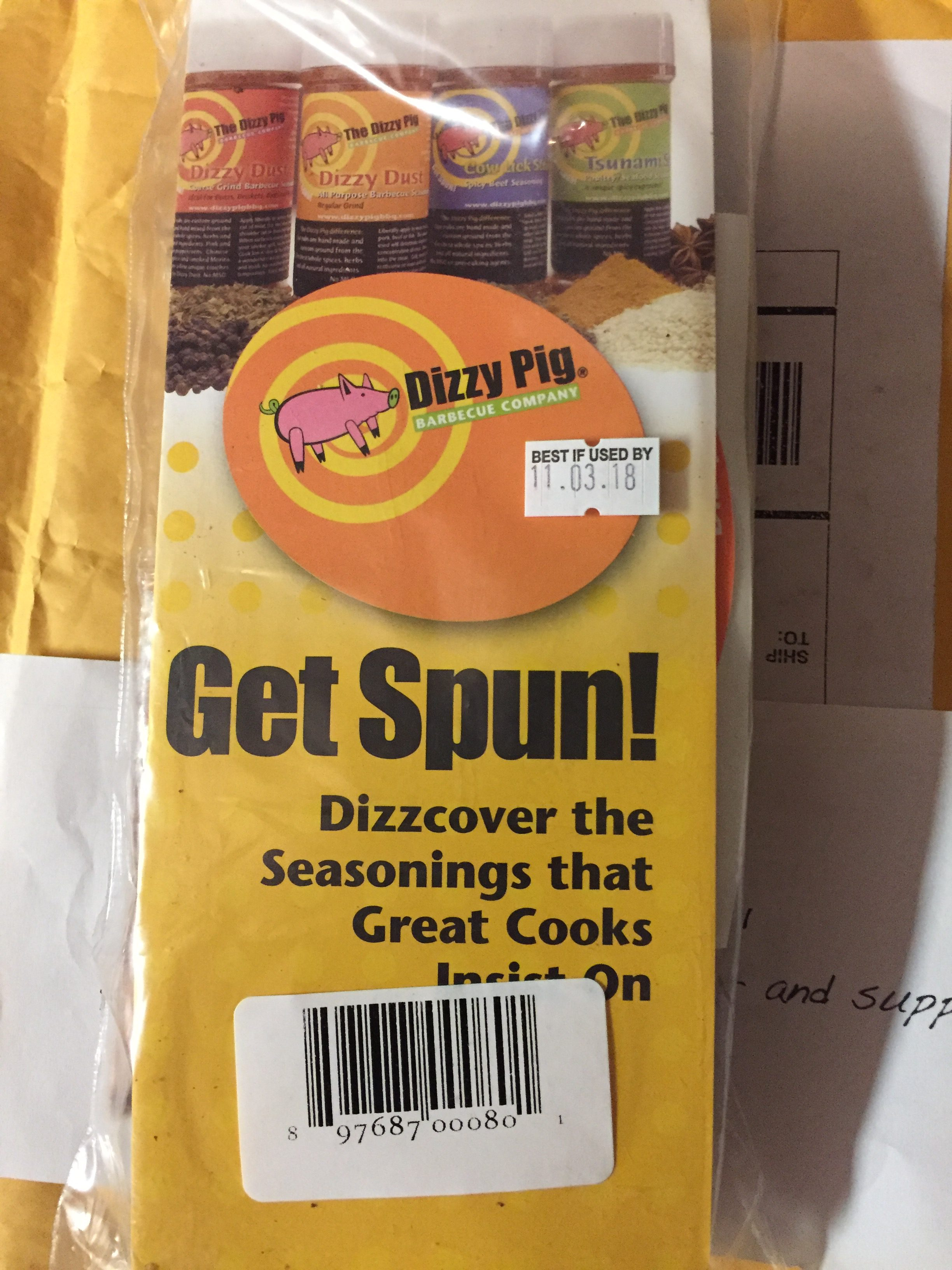 Dizzy Pig Seasoning, My package Arrived