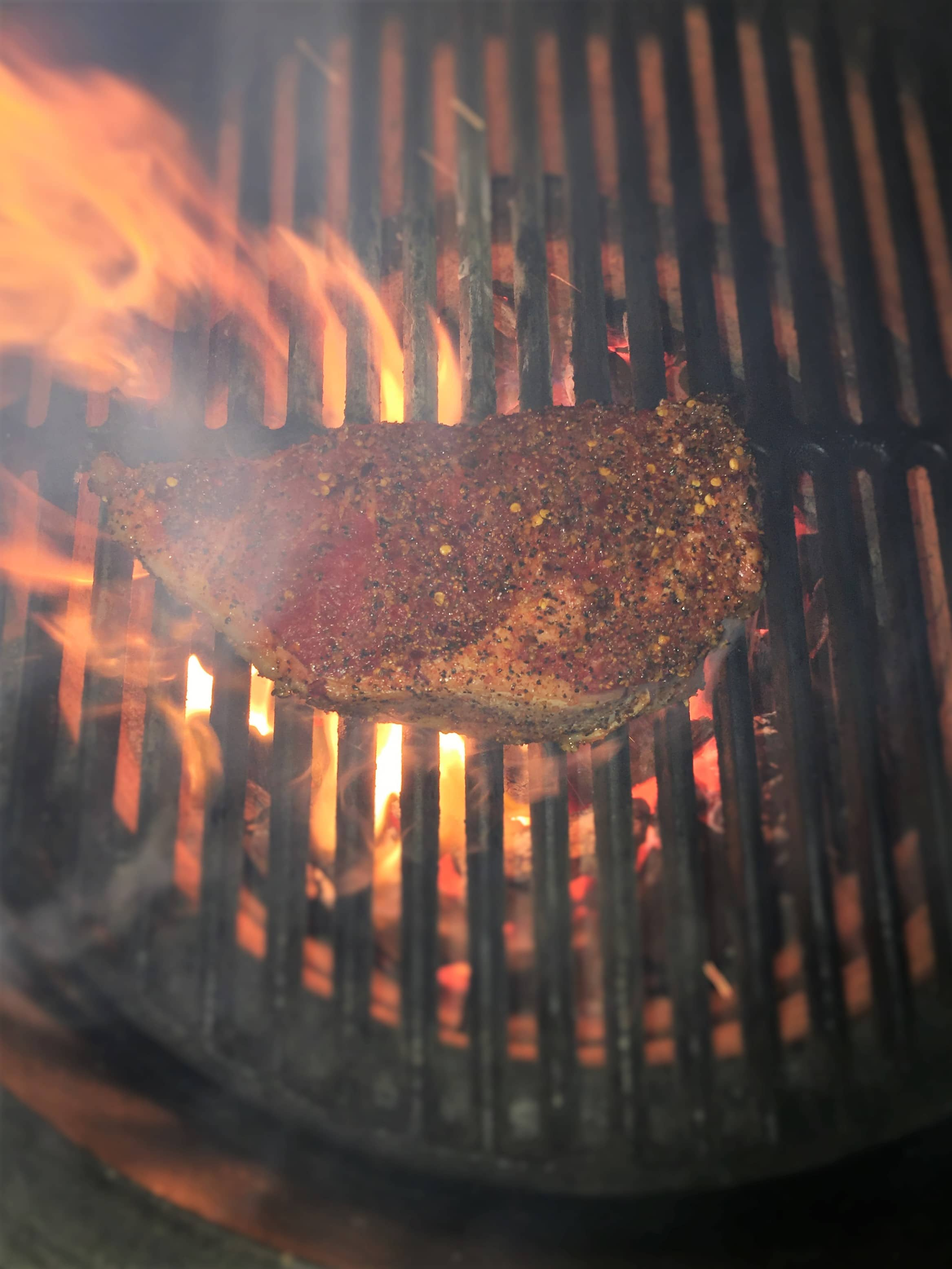 Grilling Steaks on a Charcoal Grill, Seasoning