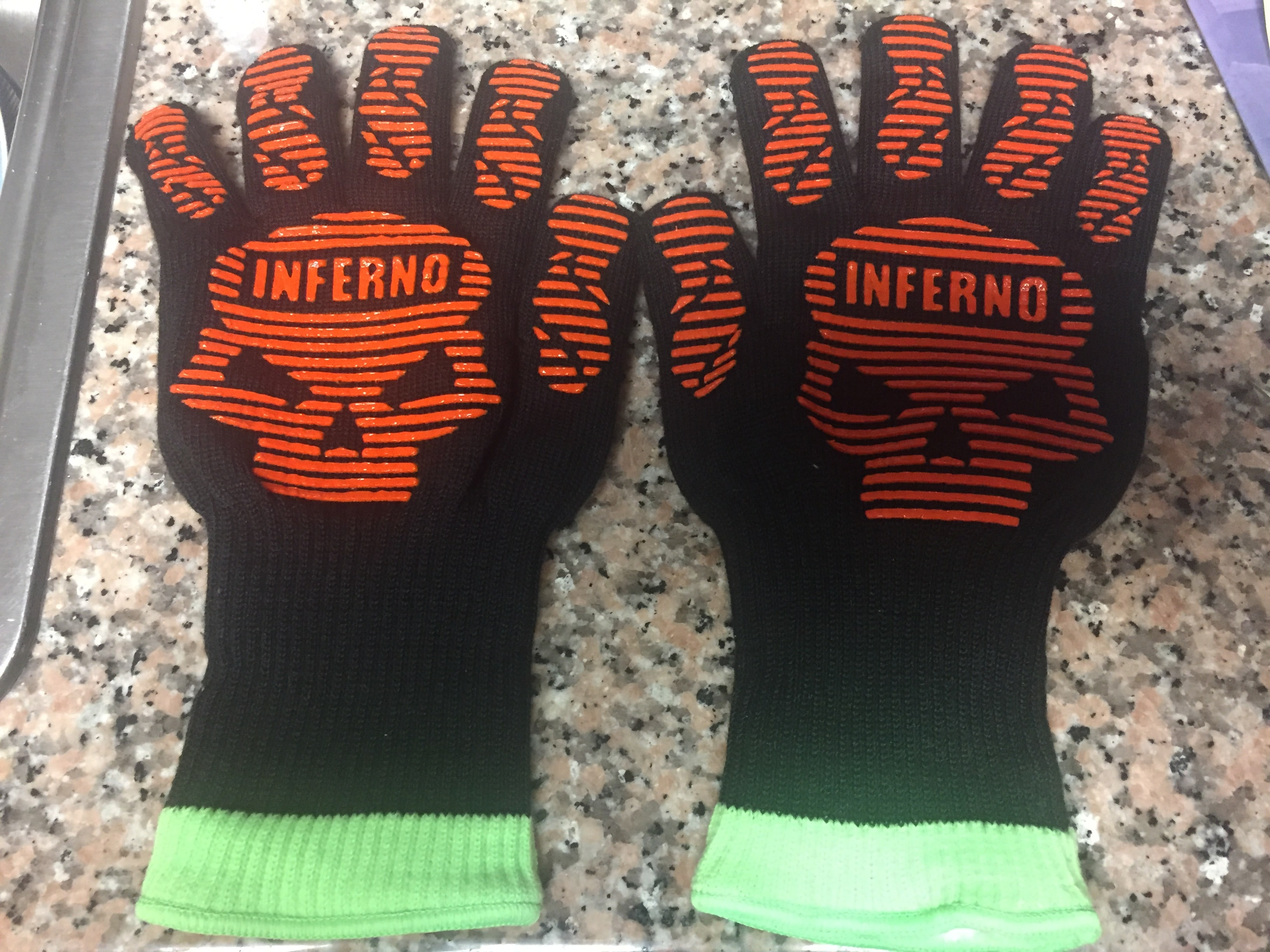 Heat Resistant Barbecue Gloves, Kitchenux Brand Inferno-IBG-L Grill Gloves