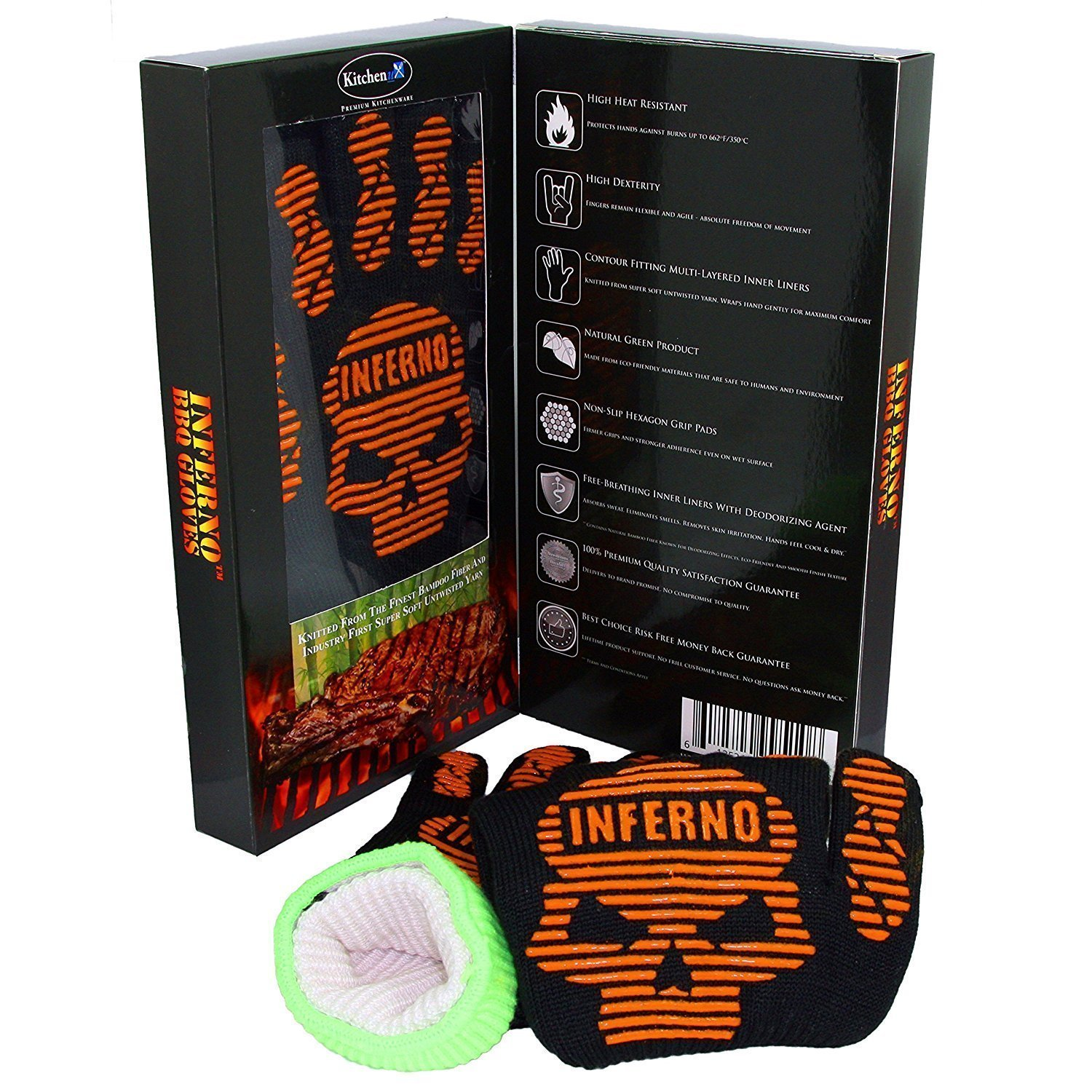 Heat Resistant Barbecue Gloves, Kitchenux Brand Inferno-IBG-L Grilling Gloves