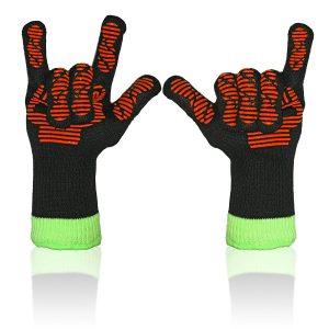 Heat Resistant Barbecue Gloves, Kitchenux Brand Inferno-IBG-L Heat Resistant Barbecue Gloves