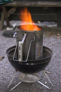 Charcoal Chimney Fire Starter In Use