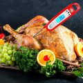 Alpha Grillers Instant Read Meat Thermometer Taking The Temperature of a Turkey