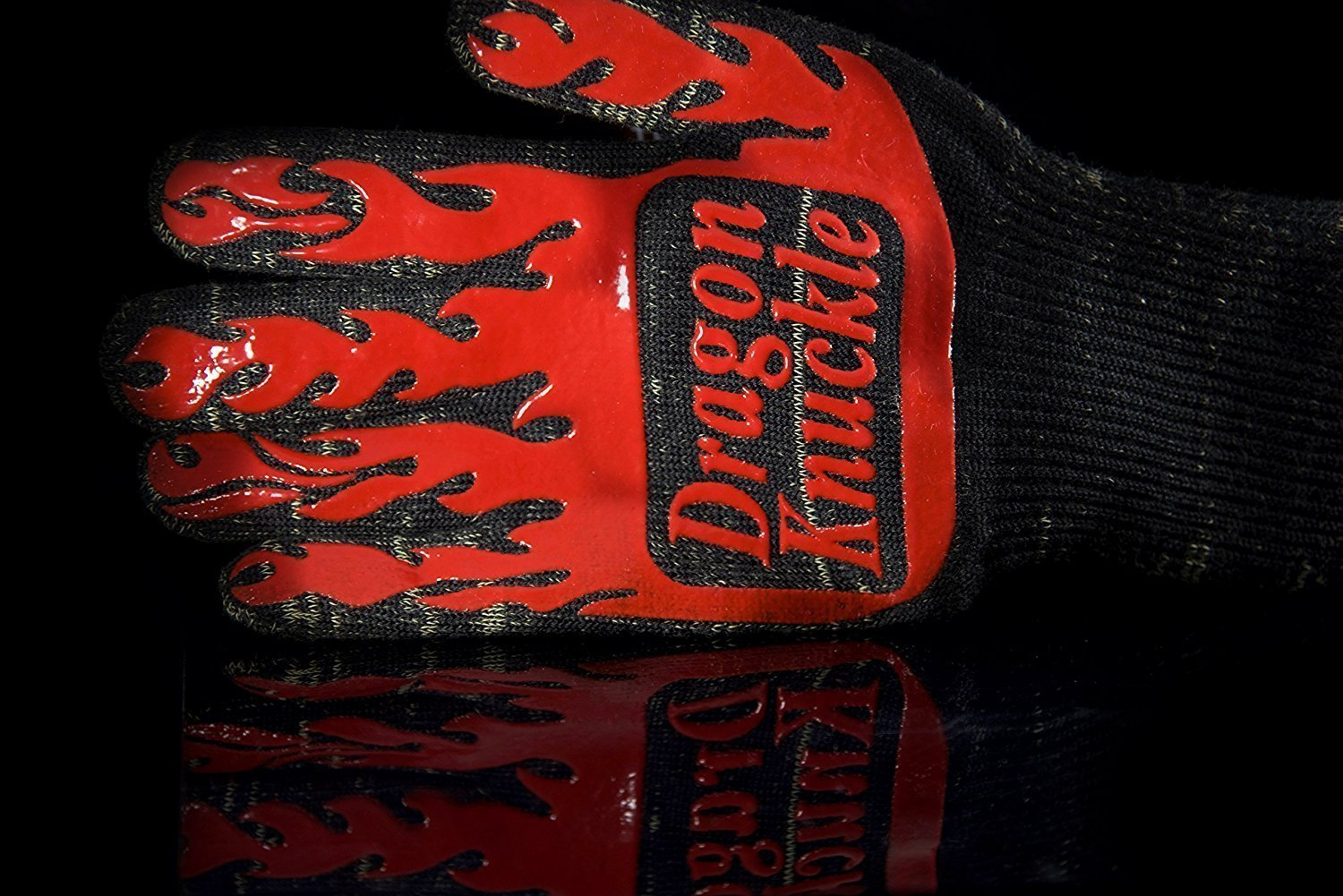 Dragon Knuckle Heat Resistant BBQ Gloves Flames Silicon Outer Liner
